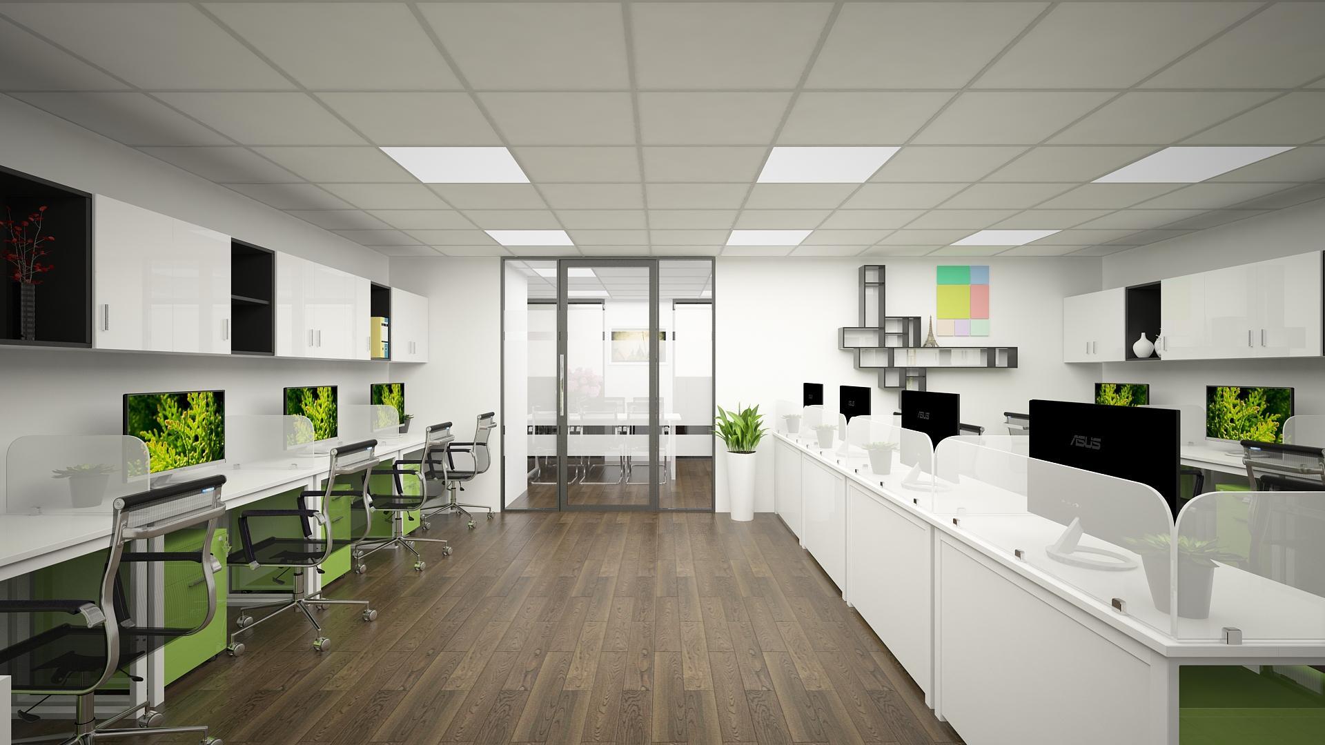 Văn phòng làm việc được thiết kế màu sắc hiện đại, năng động