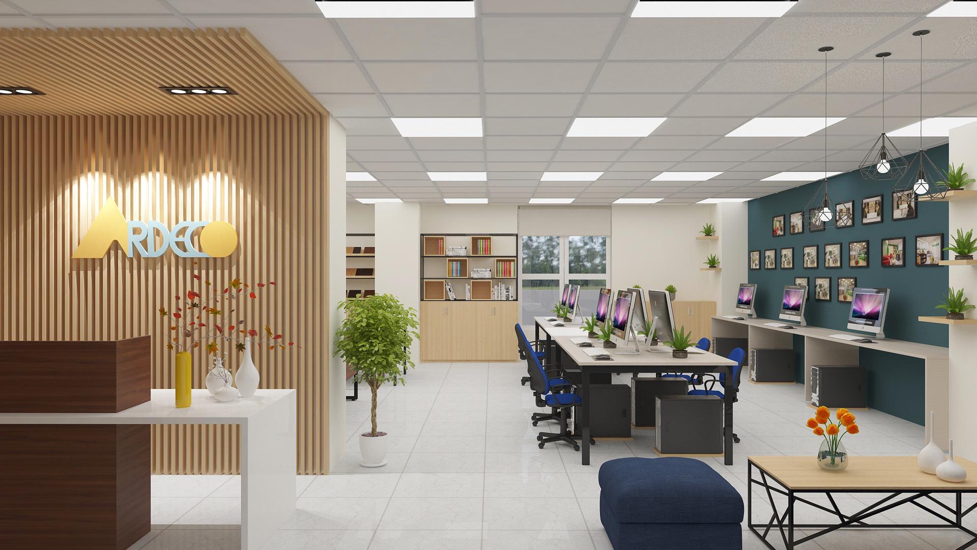 Không gian thiết kế văn phòng với màu sắc hài hòa, dễ chịu