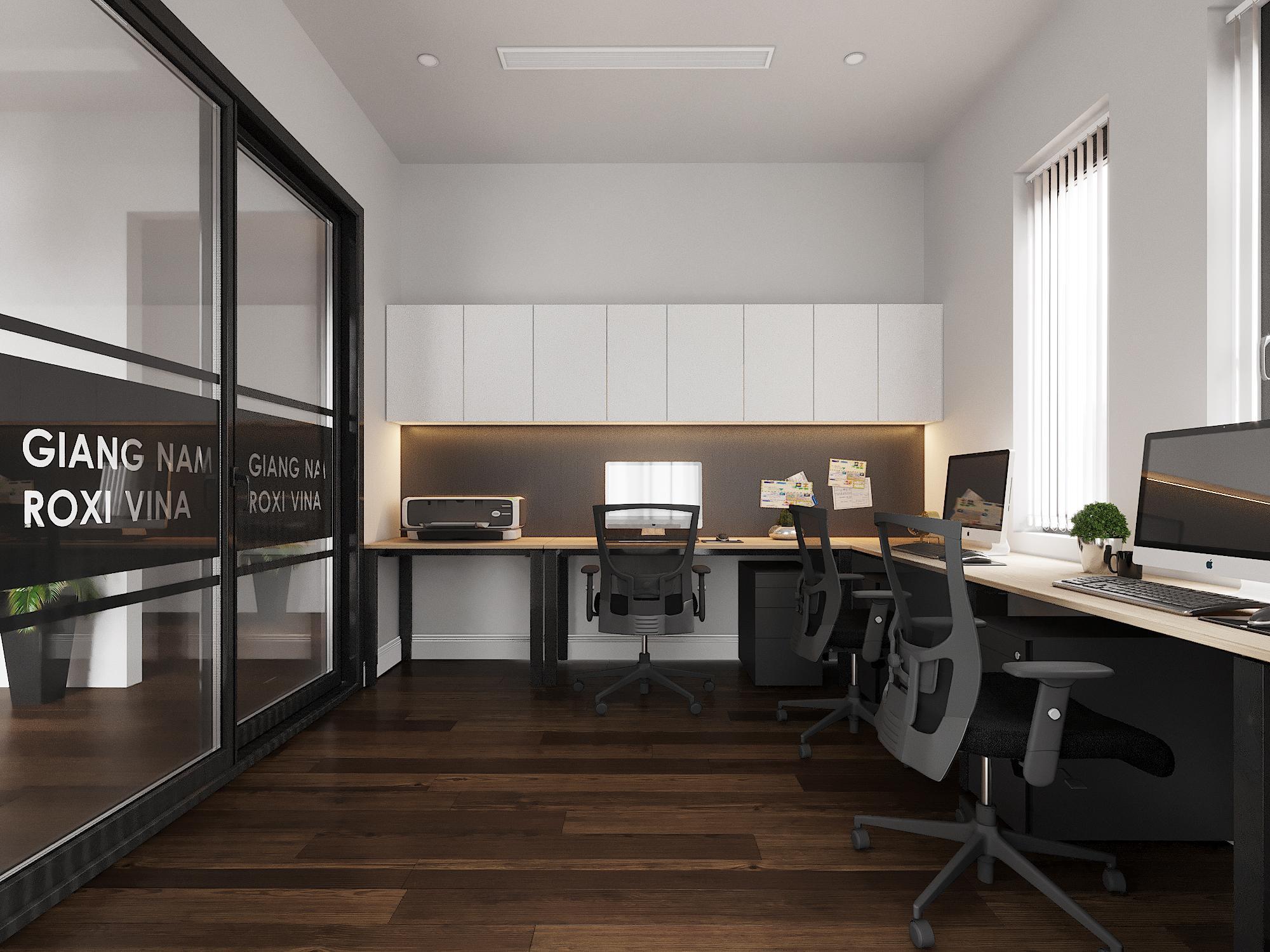 Thiết kế nội thất văn phòng được tân dụng hết ánh sáng thiên nhiên từ cửa sổ