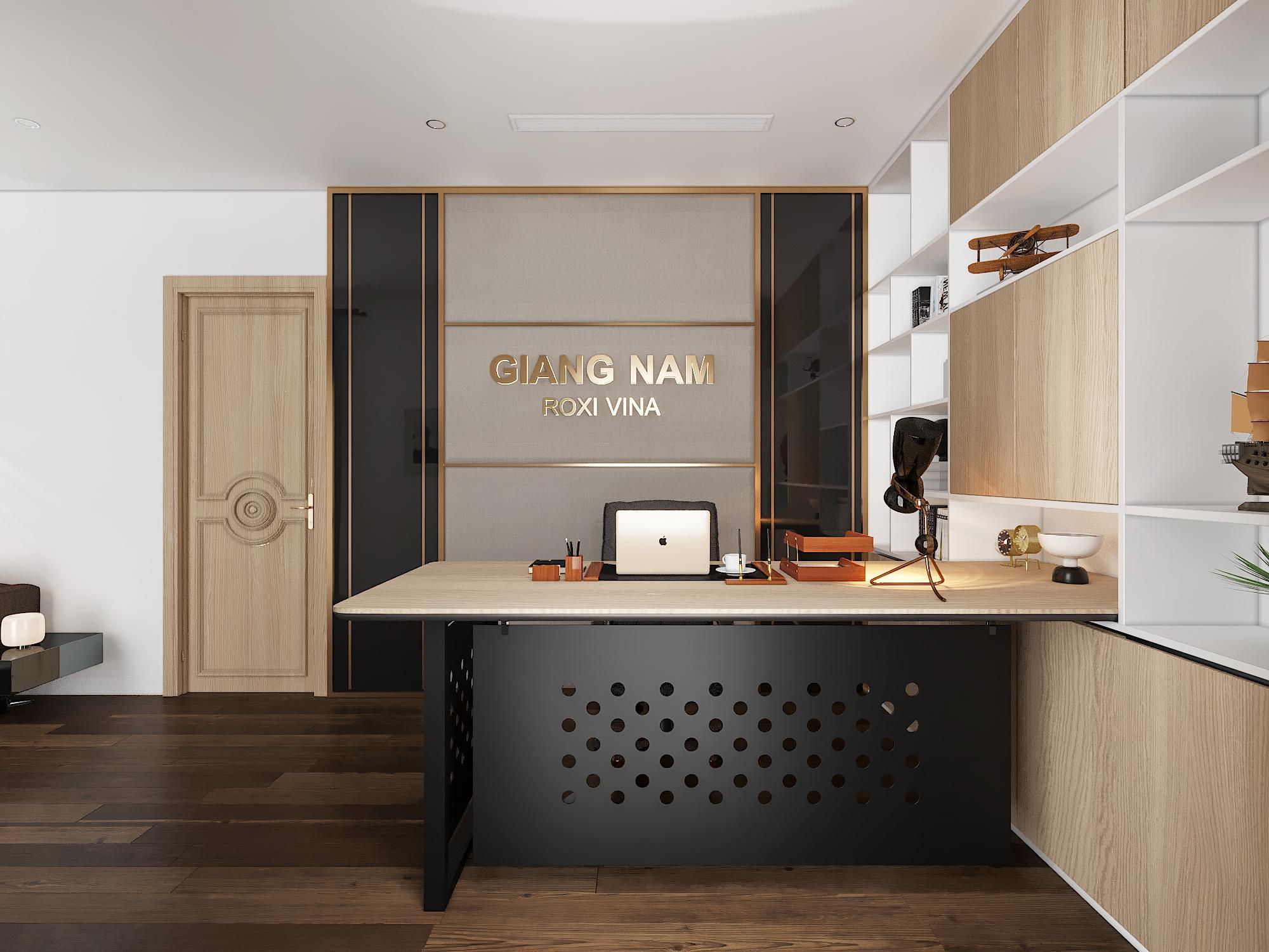 Thiết kế phòng giám đốc với chi tiết gỗ đơn giản, tiện lợi