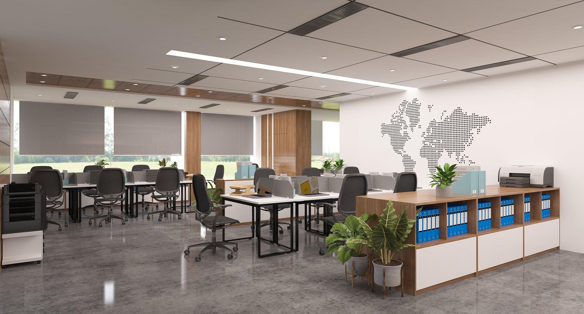 Thiết kế văn phòng được bố trí hợp lí