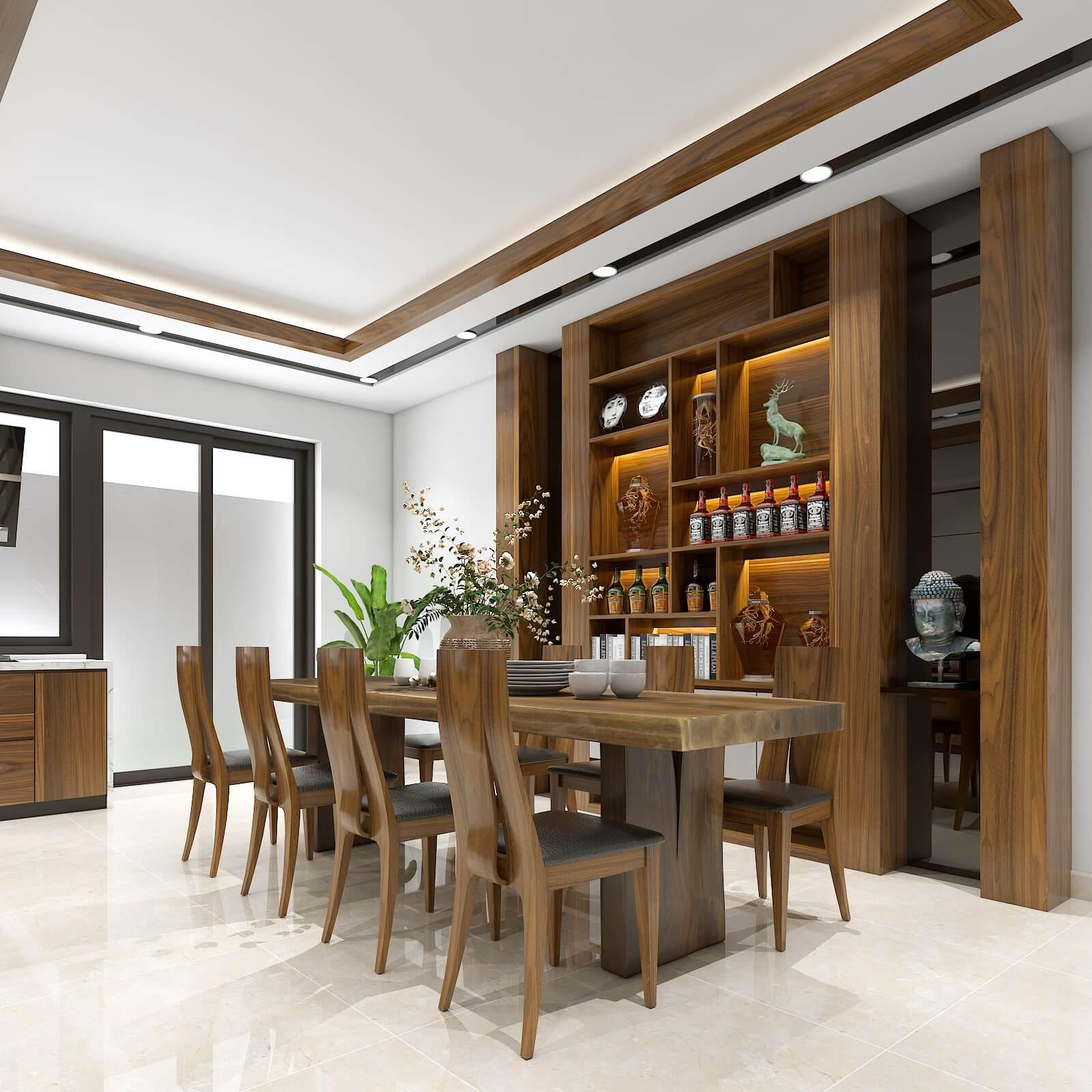 Chất liệu gỗ óc chó tự nhiên tôn lên vẻ đẹp cho không gian bếp
