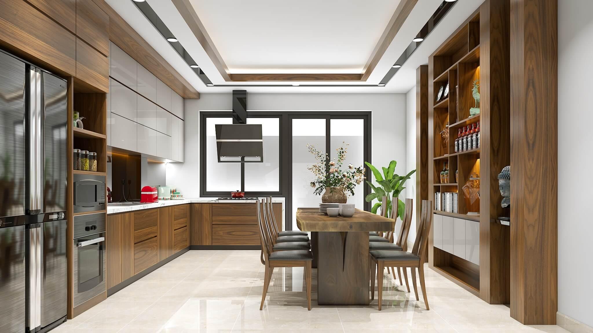 Thiết kế phòng bếp biệt thự tiện lợi và sang trọng