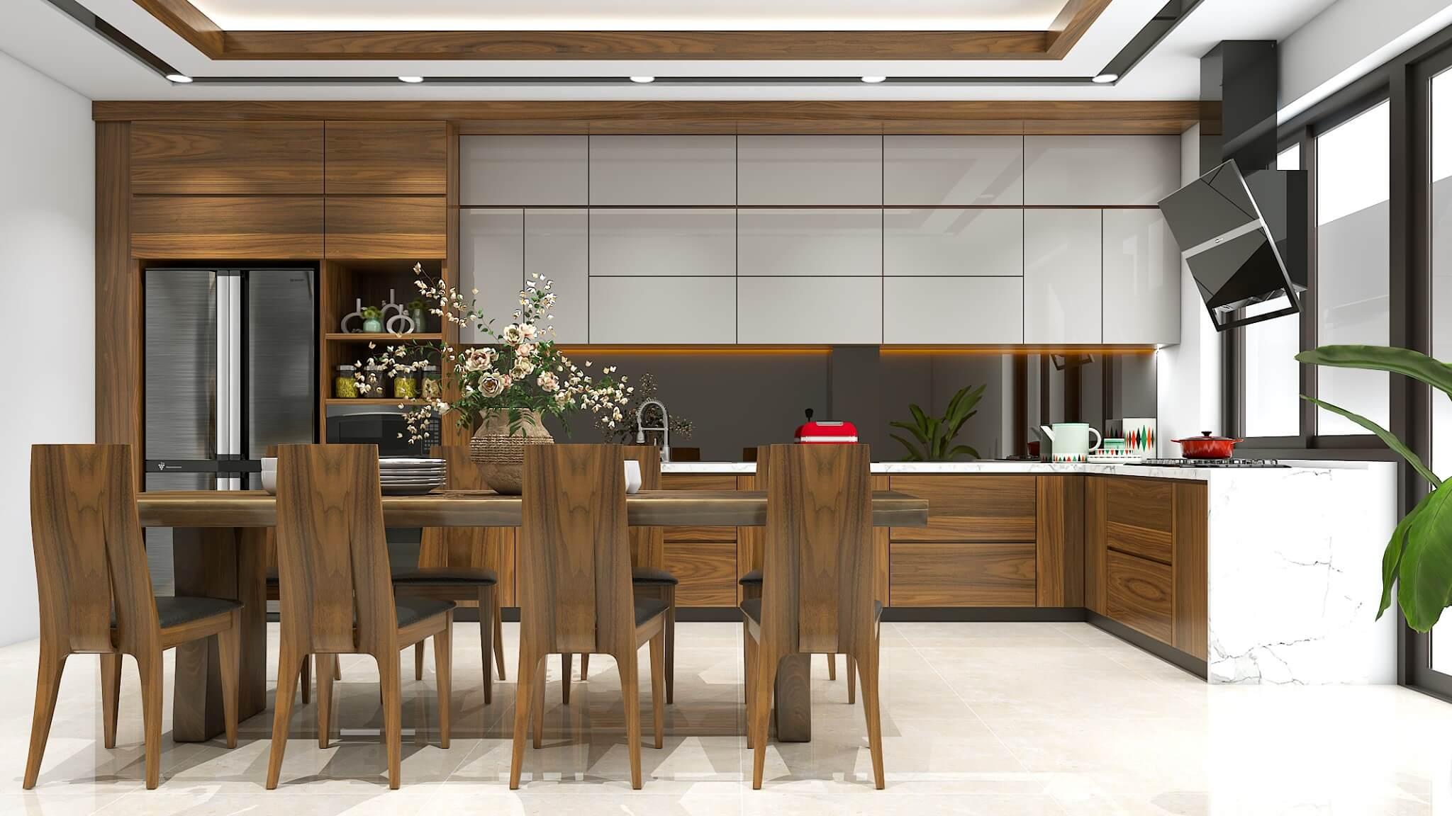 Không gian bếp được bố trí gọn gàng, tận dụng hết công năng
