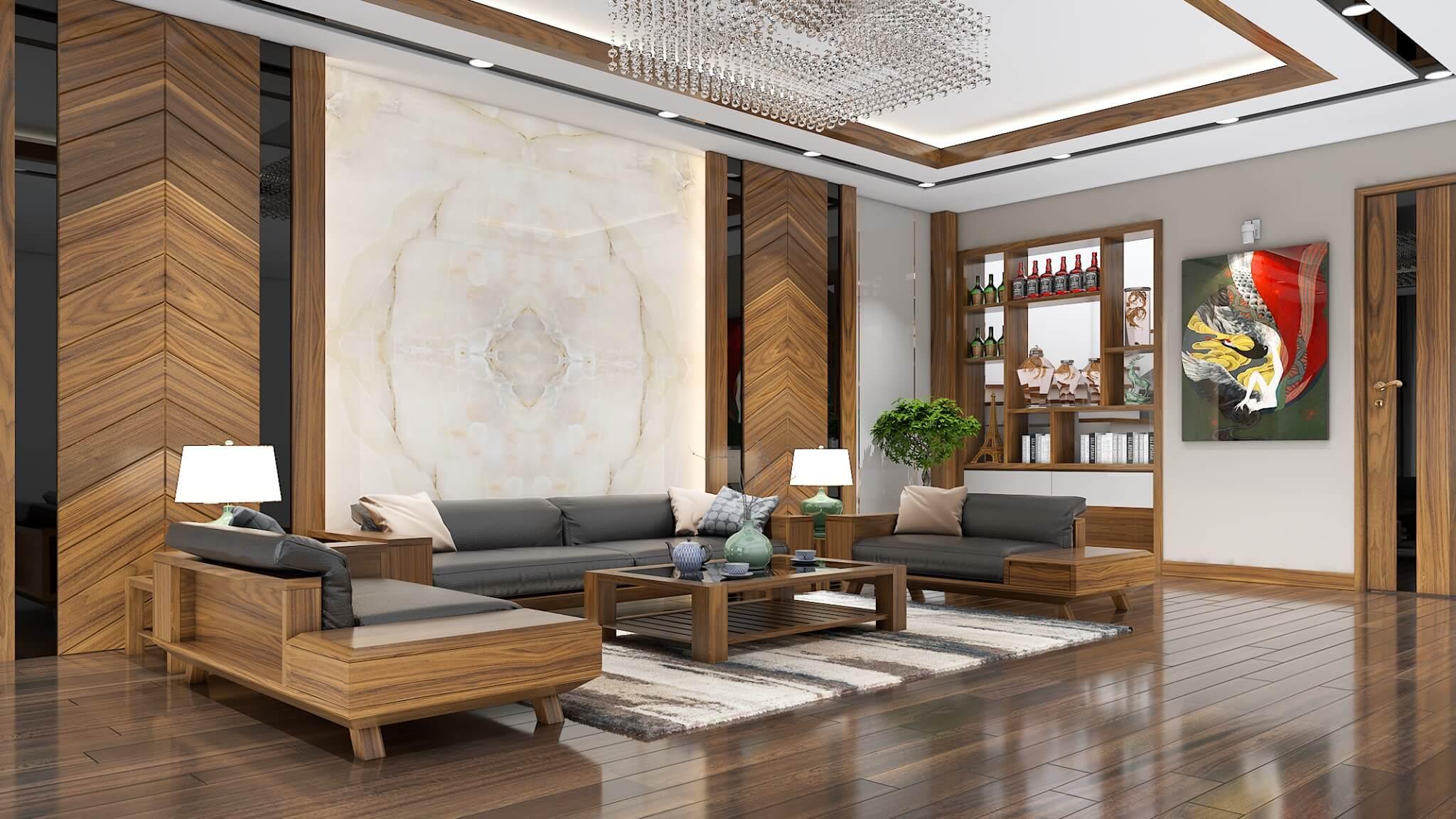 Phòng khách được thiết kế với điểm nhấn là bộ sofa và vách ốp tường