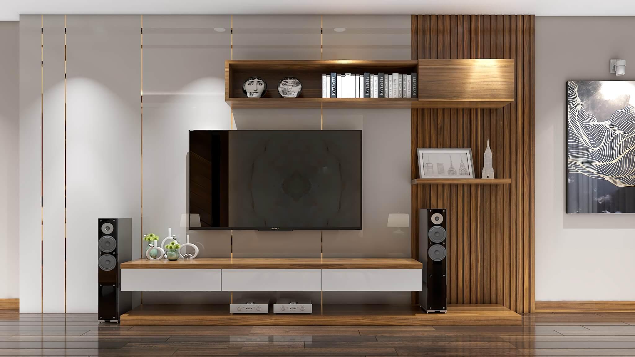 Vách ốp và kệ ti vi ở phòng khách được thiết kế đơn giản