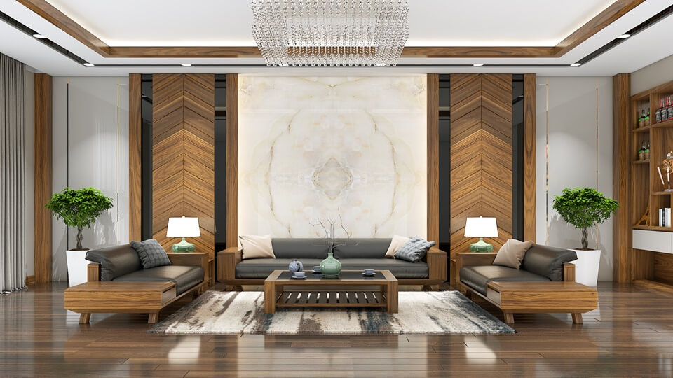 Phòng khách biệt thự hiện đại với không gian thoáng đãng
