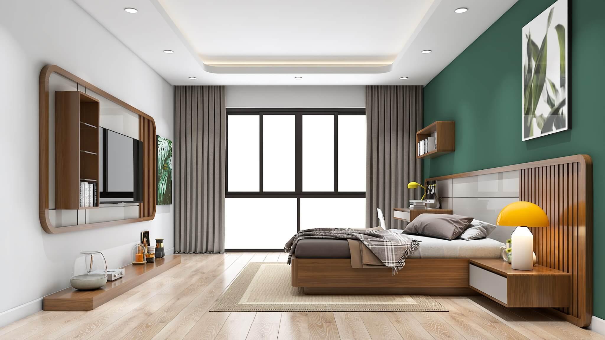 Sự năng động về chất liệu màu sắc của phòng ngủ