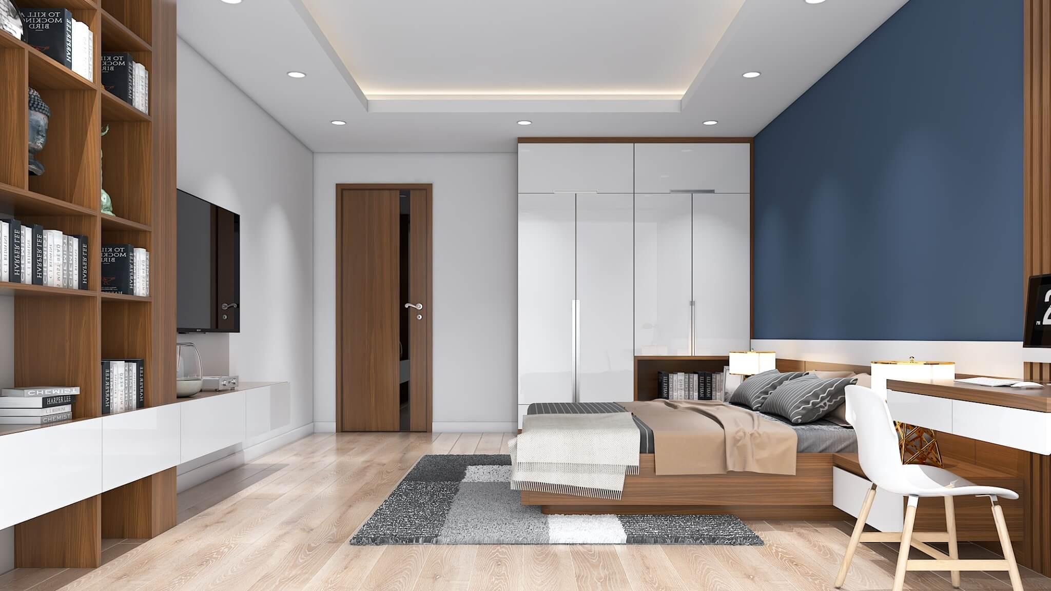 Màu sắc đối lập và chi tiết gỗ đơn giản
