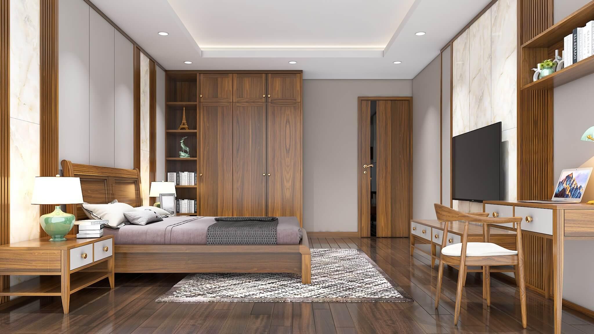 Thiết kế phòng ngủ với vách ốp gỗ làm điểm nhấn