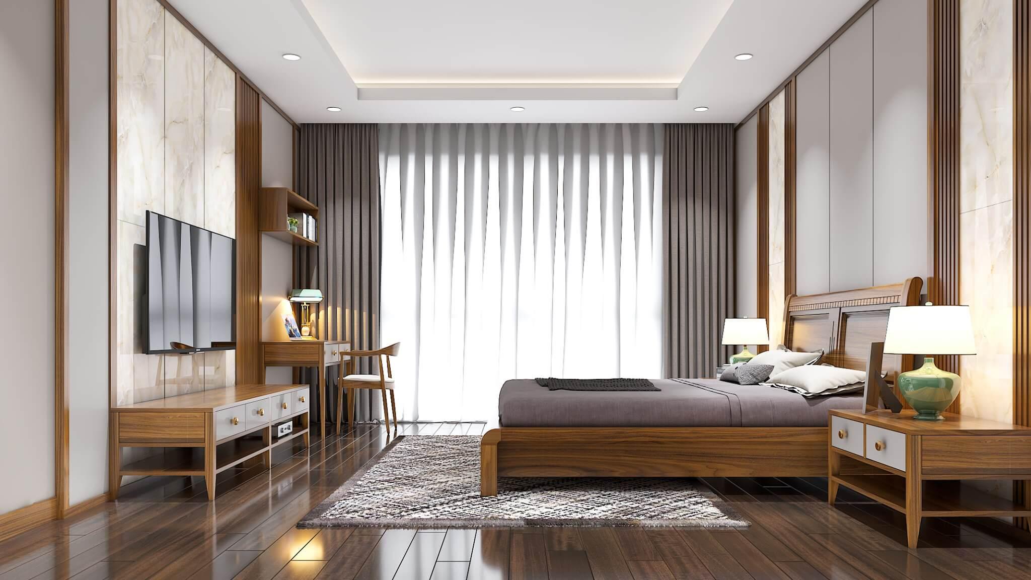 Không gian phòng ngủ master cũng được tận dụng ánh sáng từ cửa sổ lớn