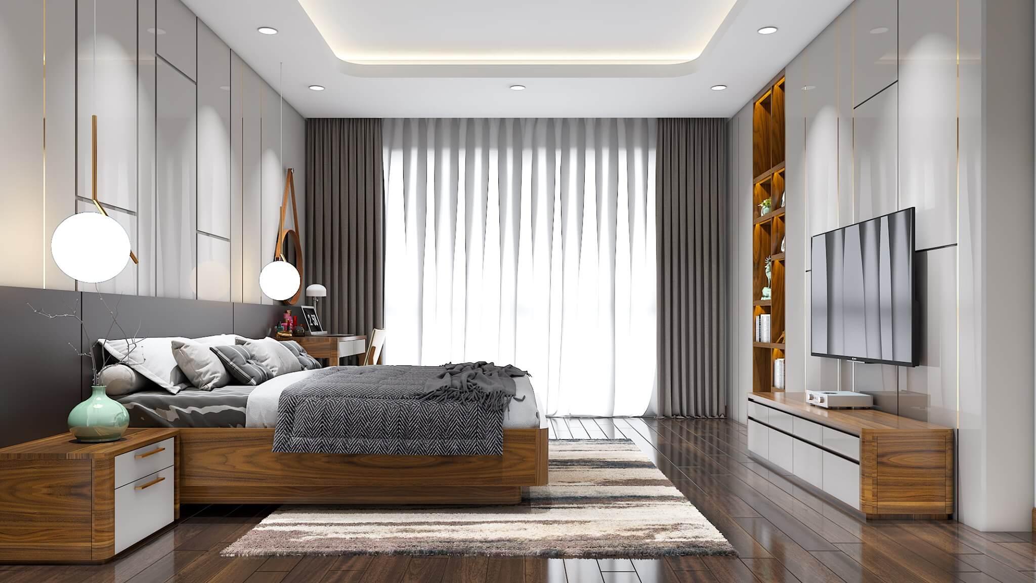 Tông màu sáng hiện đại của phòng ngủ