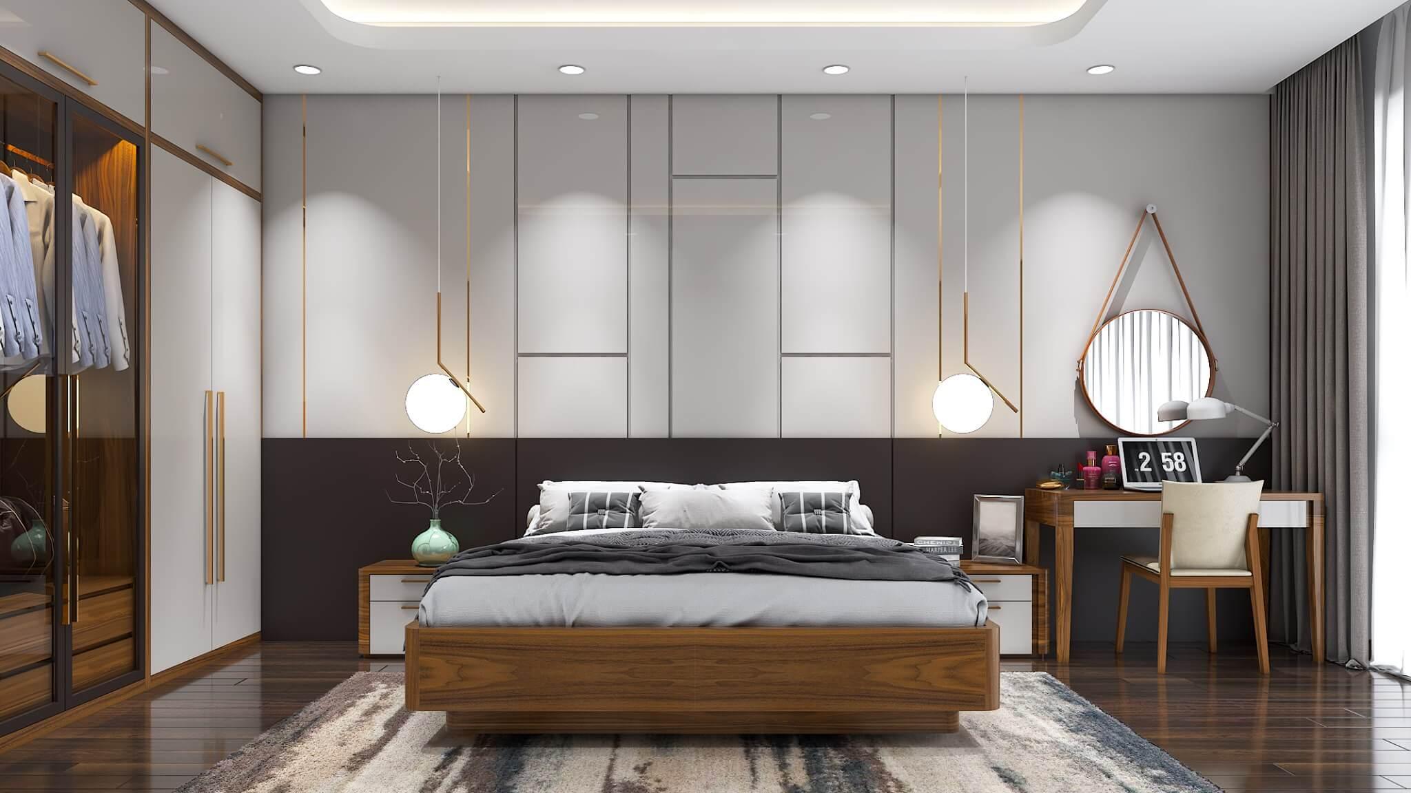 Tường của phòng ngủ được ốp vách gỗ công nghiệp hiện đại