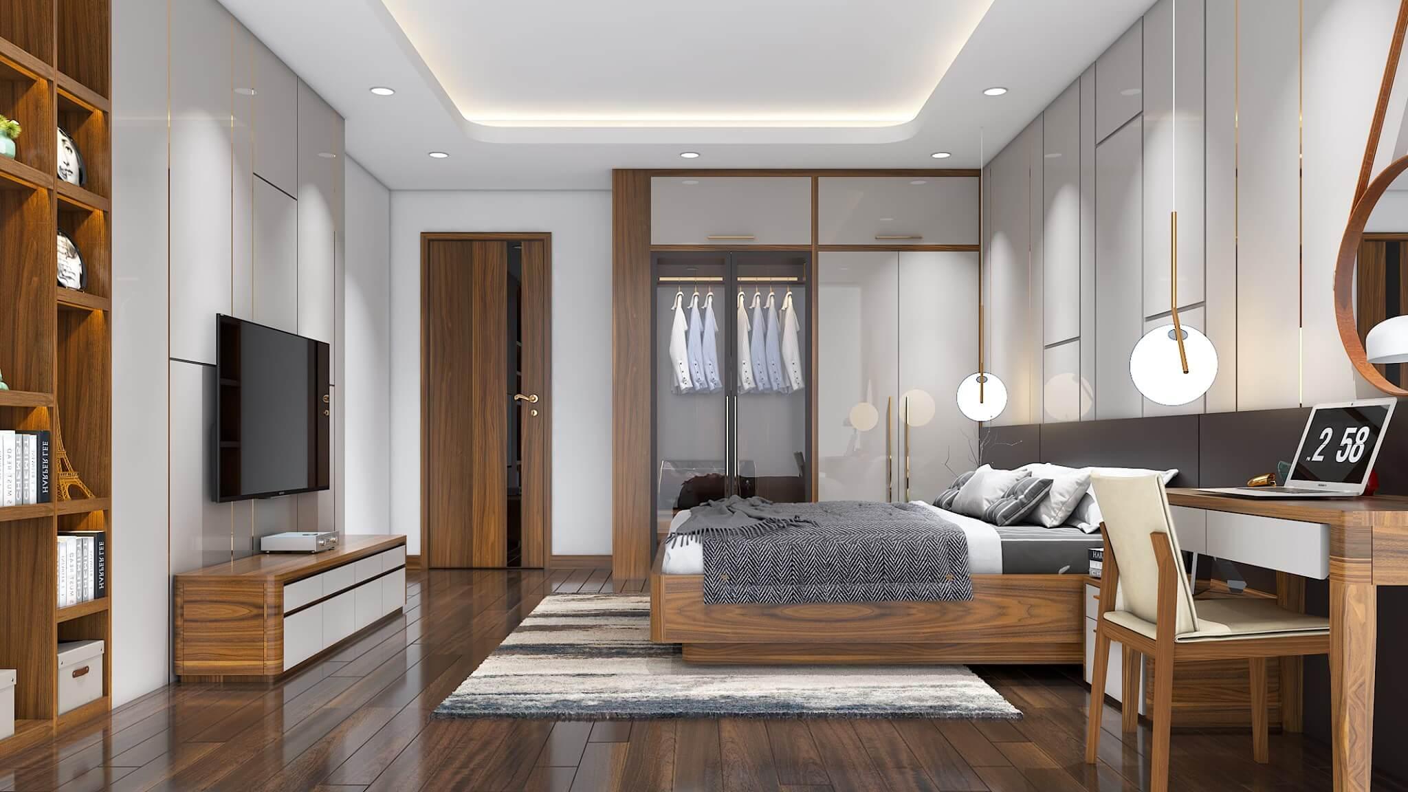 Khung giường ngủ vẫn thể hiện được sự chắc chắn ấn tượng từ gỗ óc chó