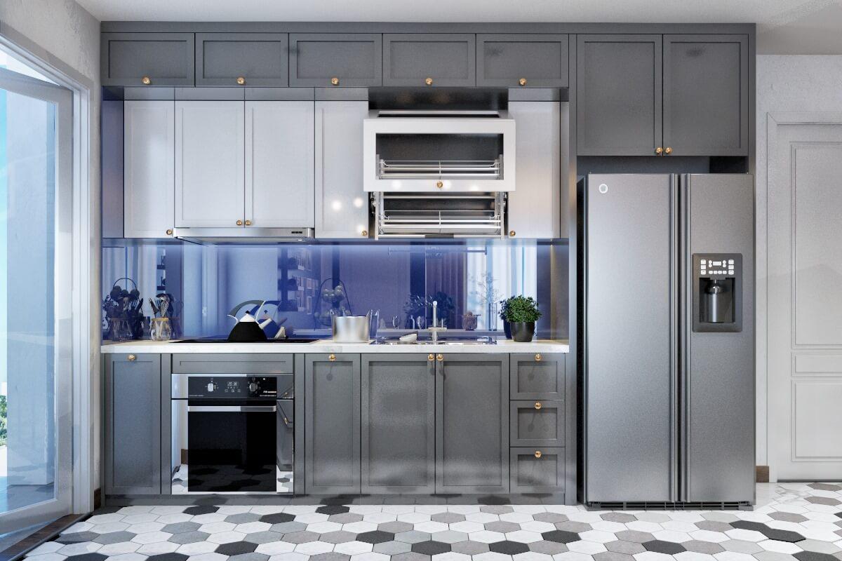 Thiết kế phòng bếp với phong cách tân cổ, tạo điểm nhấn cho căn hộ