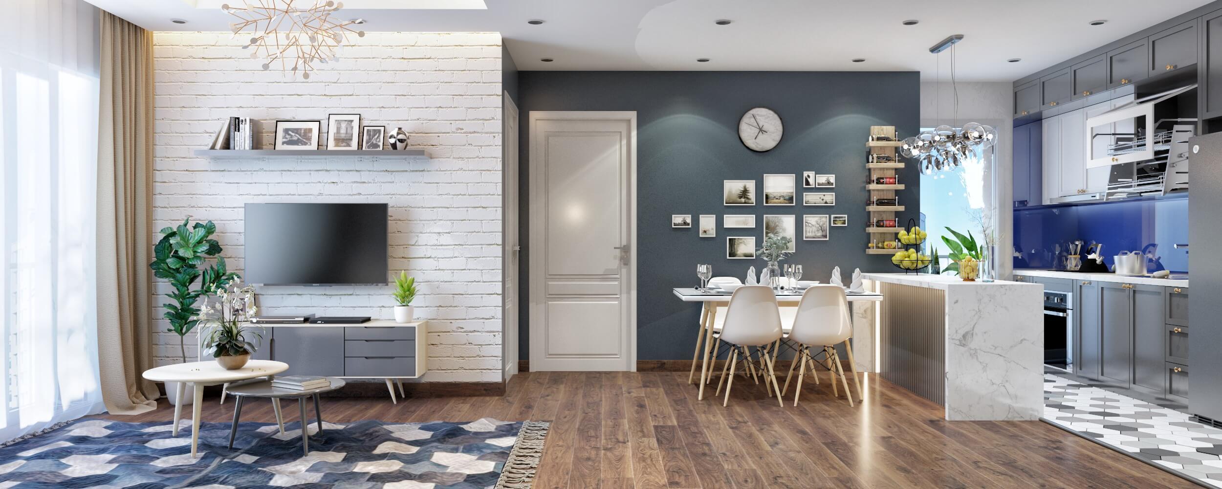 Phòng khách bếp được thiết kế tiện lợi