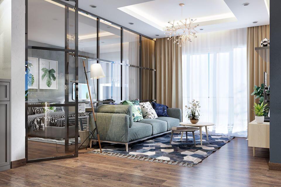 Thiết kế phòng khách với vách kính tạo nên sự rộng rãi
