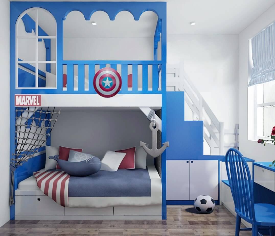 Phòng ngủ con trai với màu sắc trẻ trung, năng động