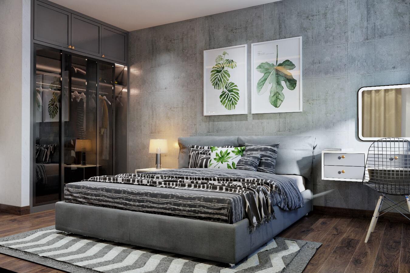 Phòng ngủ được tạo điểm nhấn với bức tranh đẹp mắt