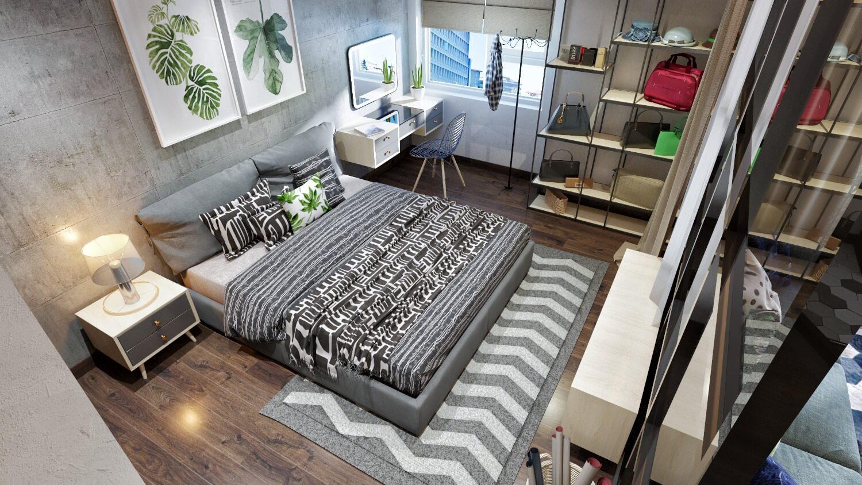 Phòng ngủ được thiết kế với tủ đồ, bàn trang điểm