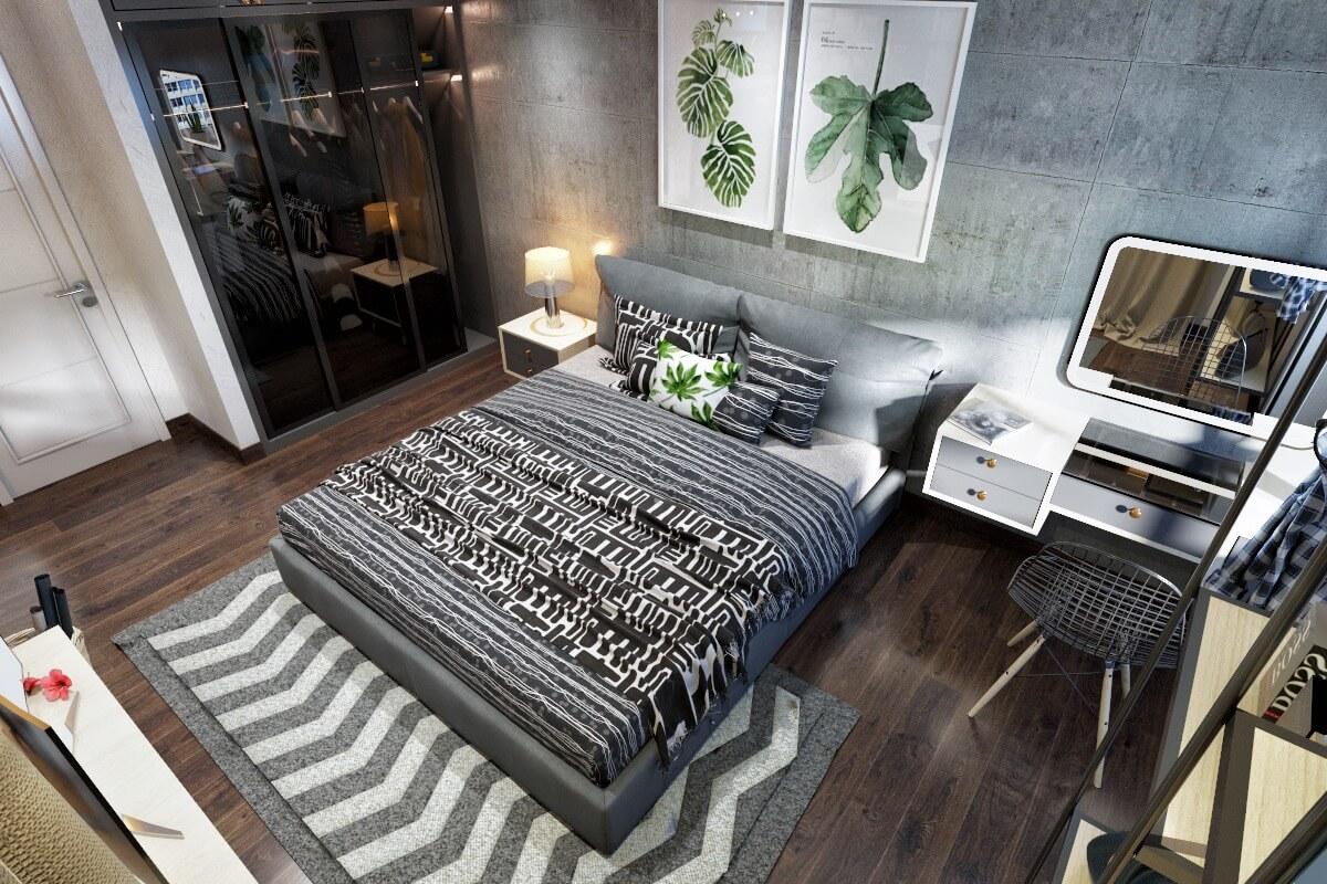 Tông màu trầm tạo nên không gian phòng ngủ ấm áp, riêng tư
