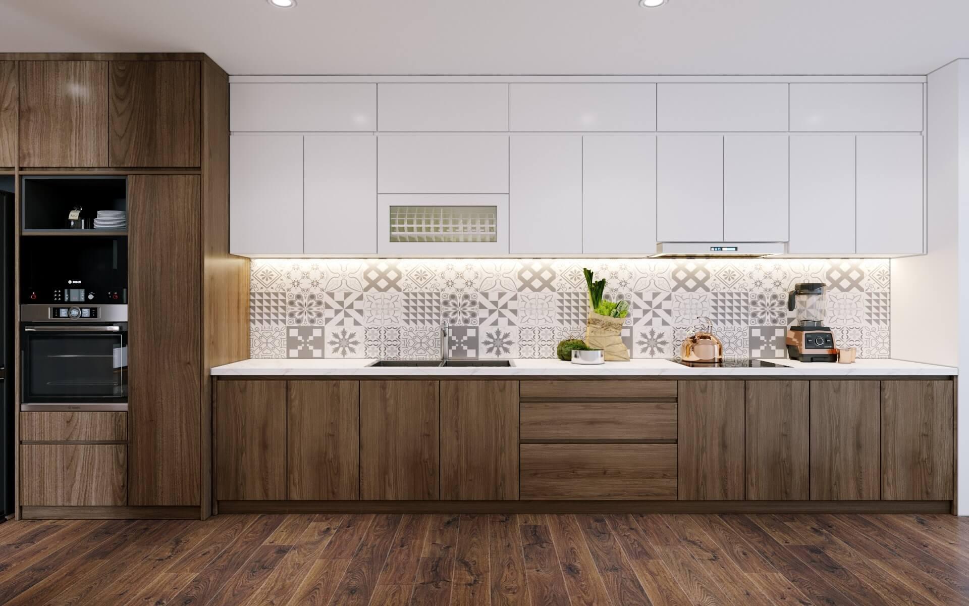 Thiết kế tủ bếp với sự kết hợp gỗ công nghiệp và gỗ tự nhiên