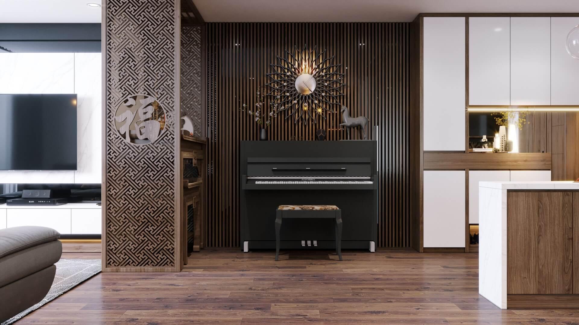 Vách ốp nan gỗ và vách cnc phòng thờ tạo nên một điểm nhấn cho phòng khách