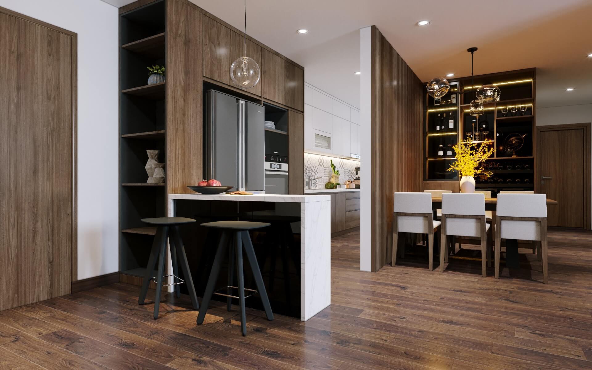 Không gian phòng khách - bếp tiện lợi