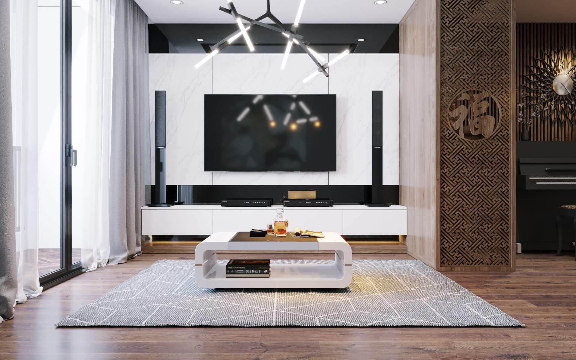 Thiết kế nội thất phòng khách đơn giản hiện đại