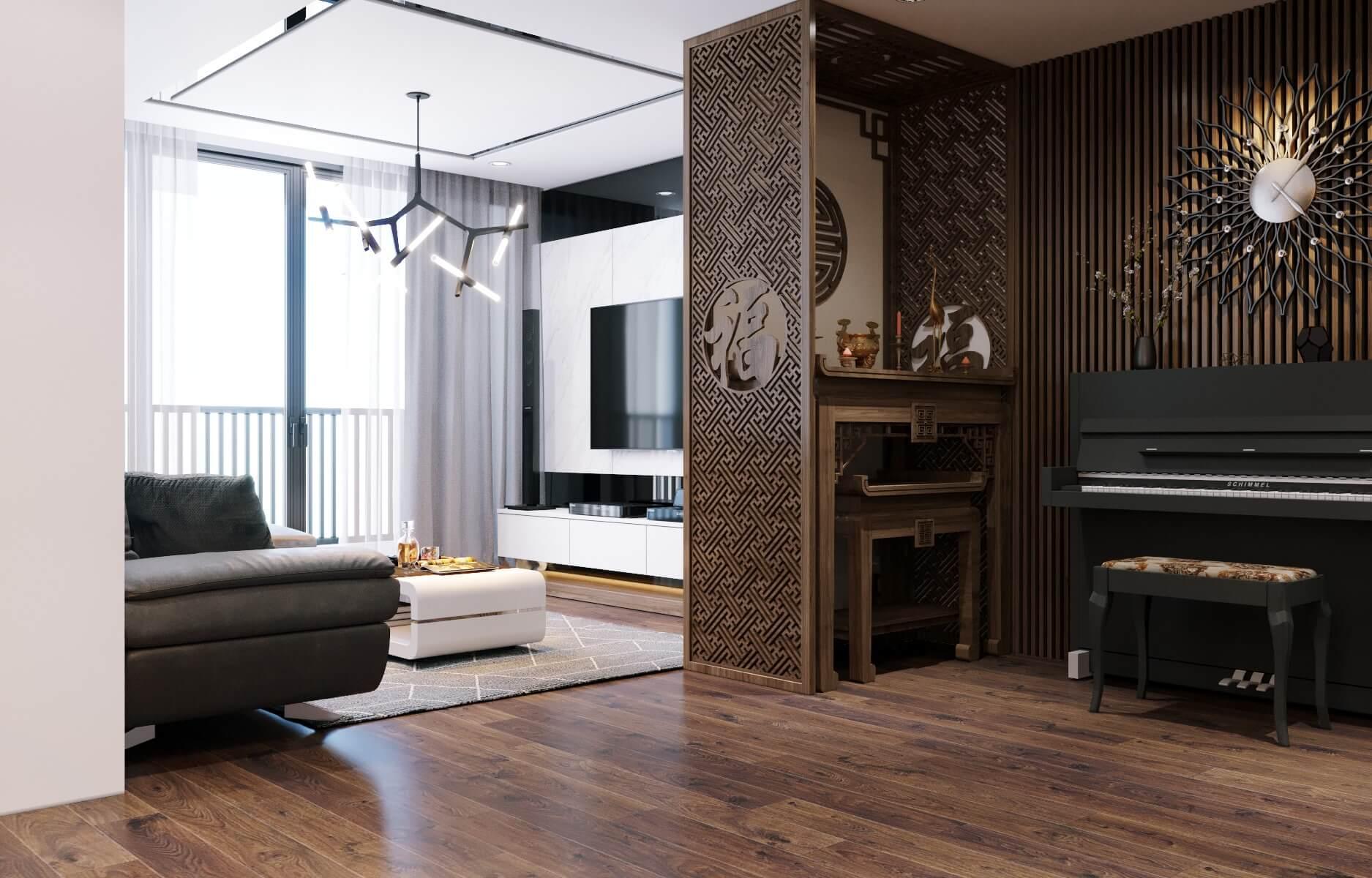 Thiết kế phòng khách với tông màu sáng hiện đại