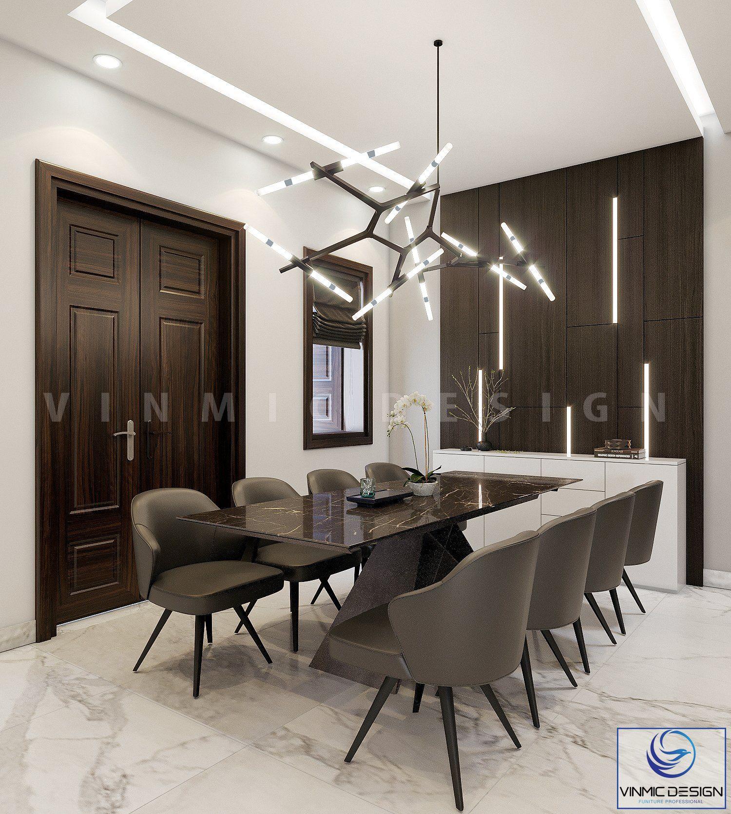 Thiết kế nội thất phòng ăn với bộ đèn ấn tượng