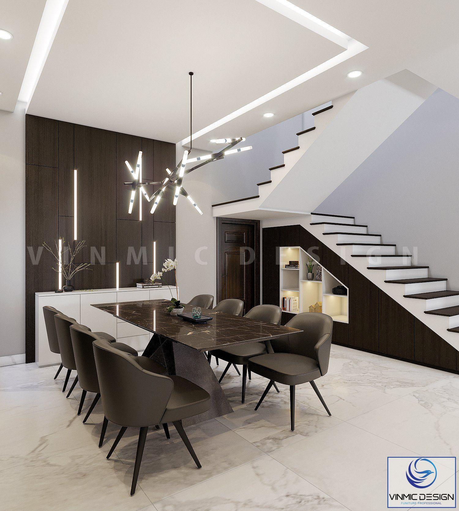 Thiết kế phía chân cầu thang nhằm tăng thêm tính thẩm mỹ
