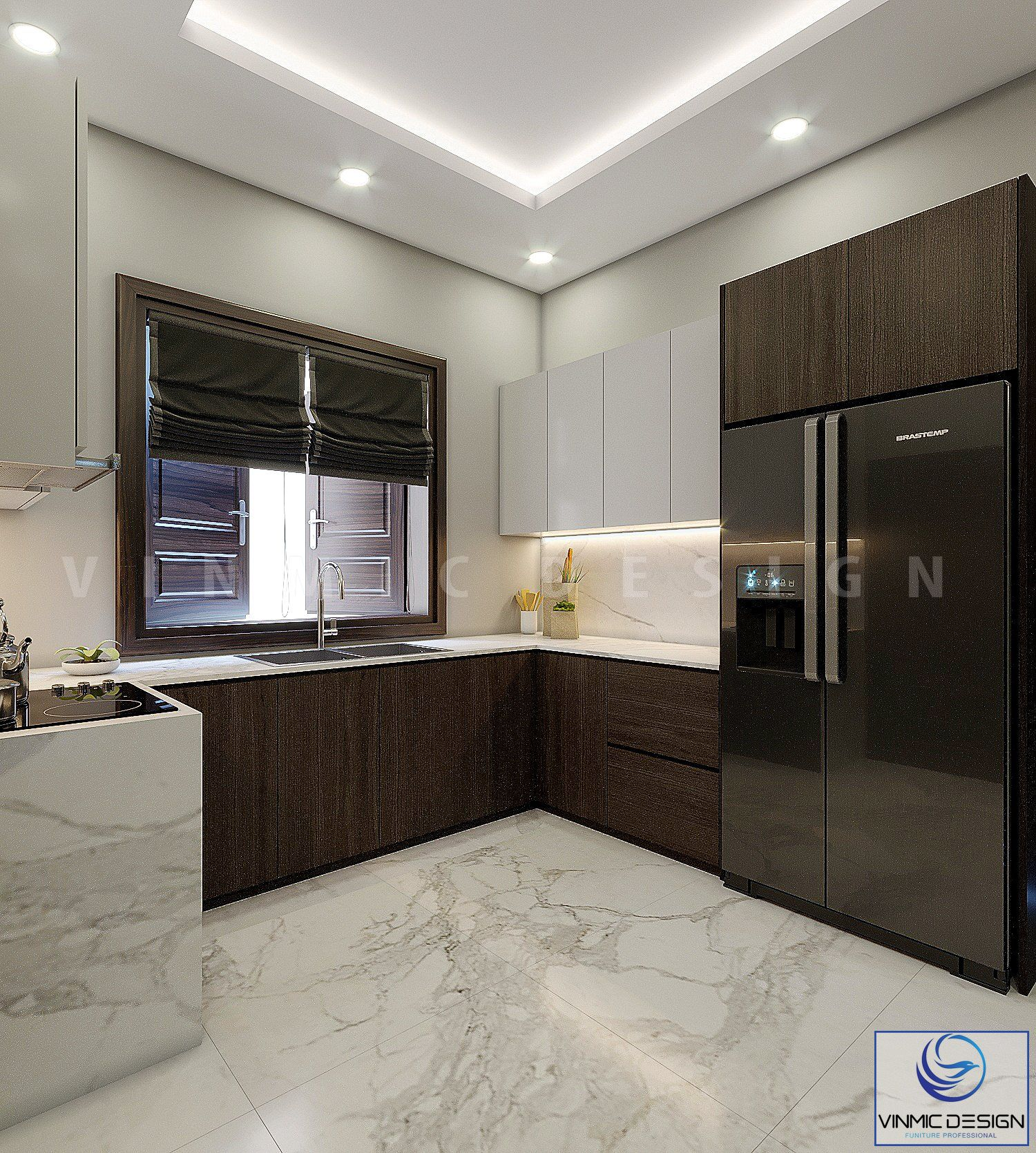 Tủ bếp được thiết kế đơn giản và tiện lợi nhất