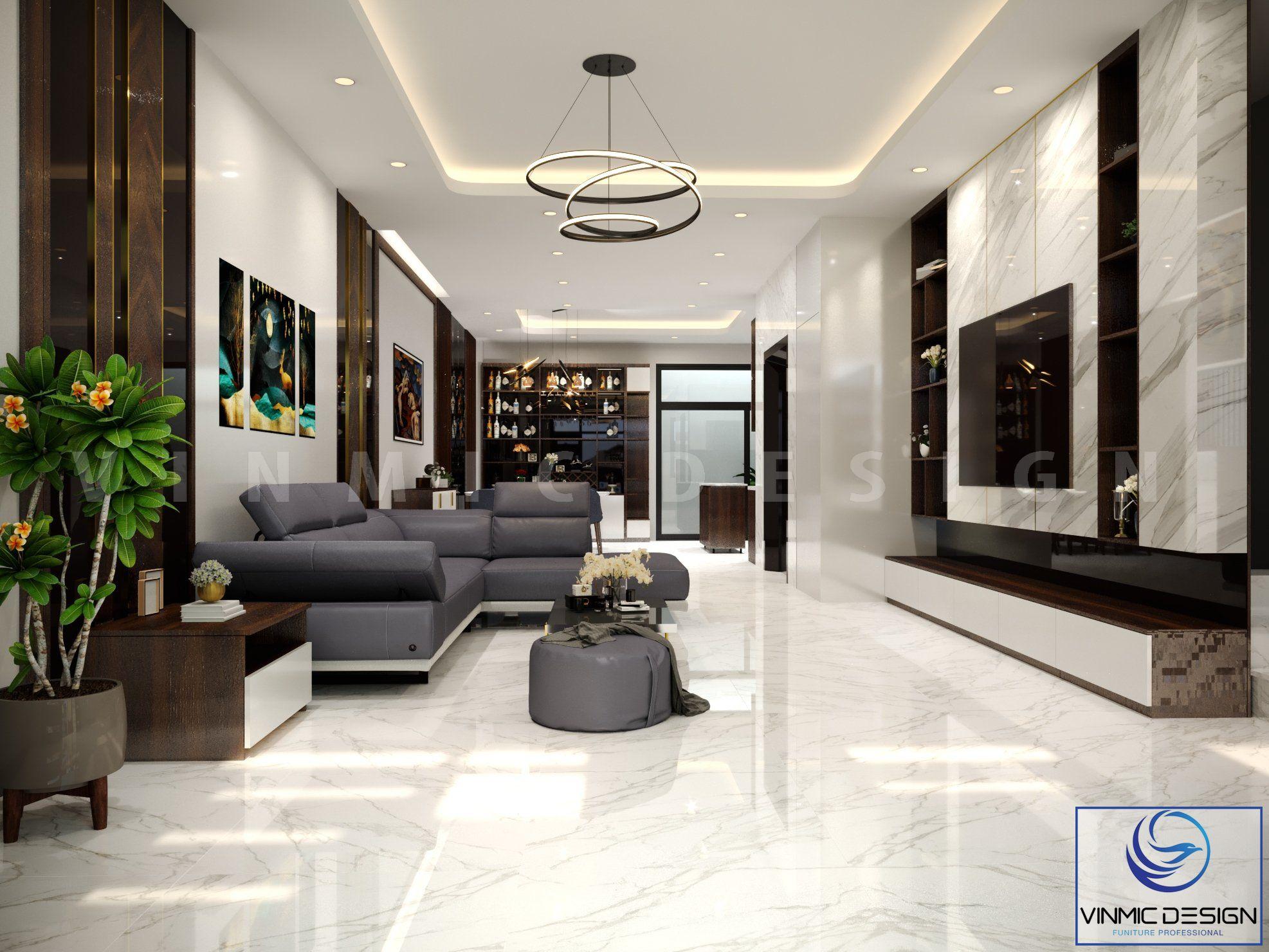Thiết kế phòng khách nhà ở hiện đại thoáng mát