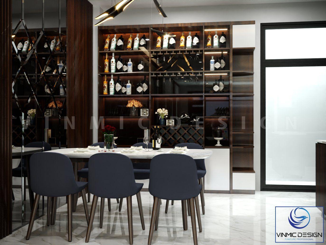 Thiết kế tủ rượu tinh tế, ánh sáng từ đèn les thu hút khách đến chơi nhà