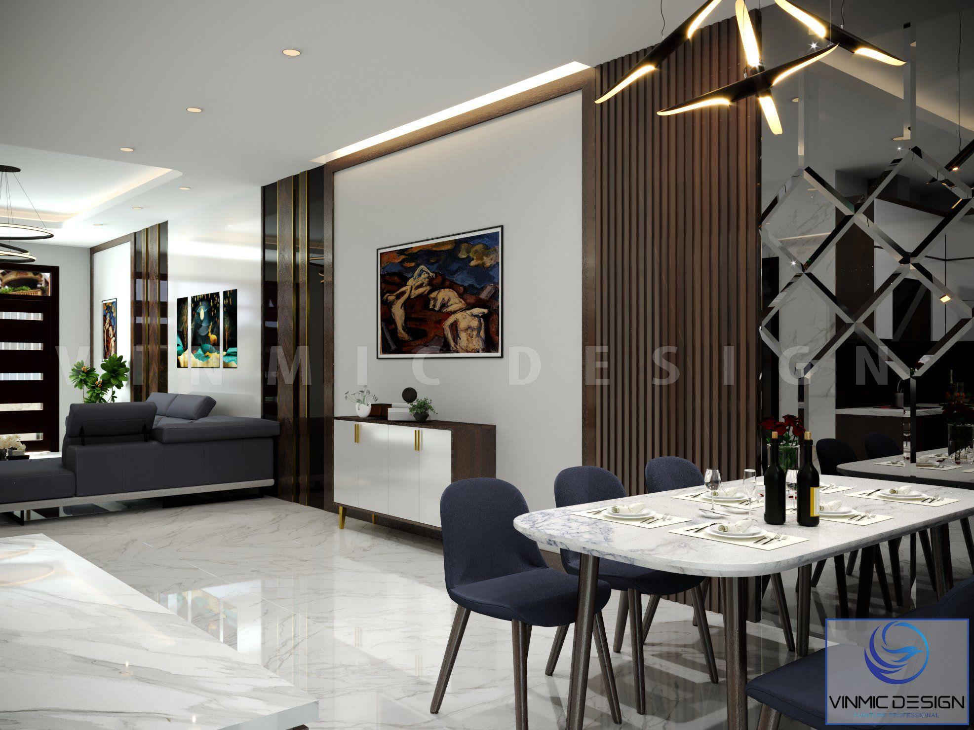 Thiết kế phòng khách và phòng bếp liên thông nhau