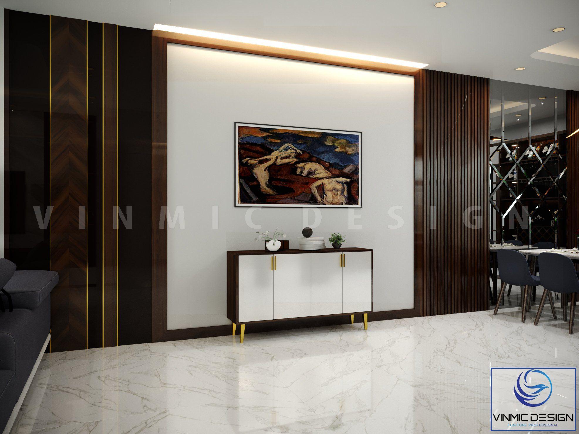 Vách ốp tường và bức tranh làm điểm nhấn cho phòng khách