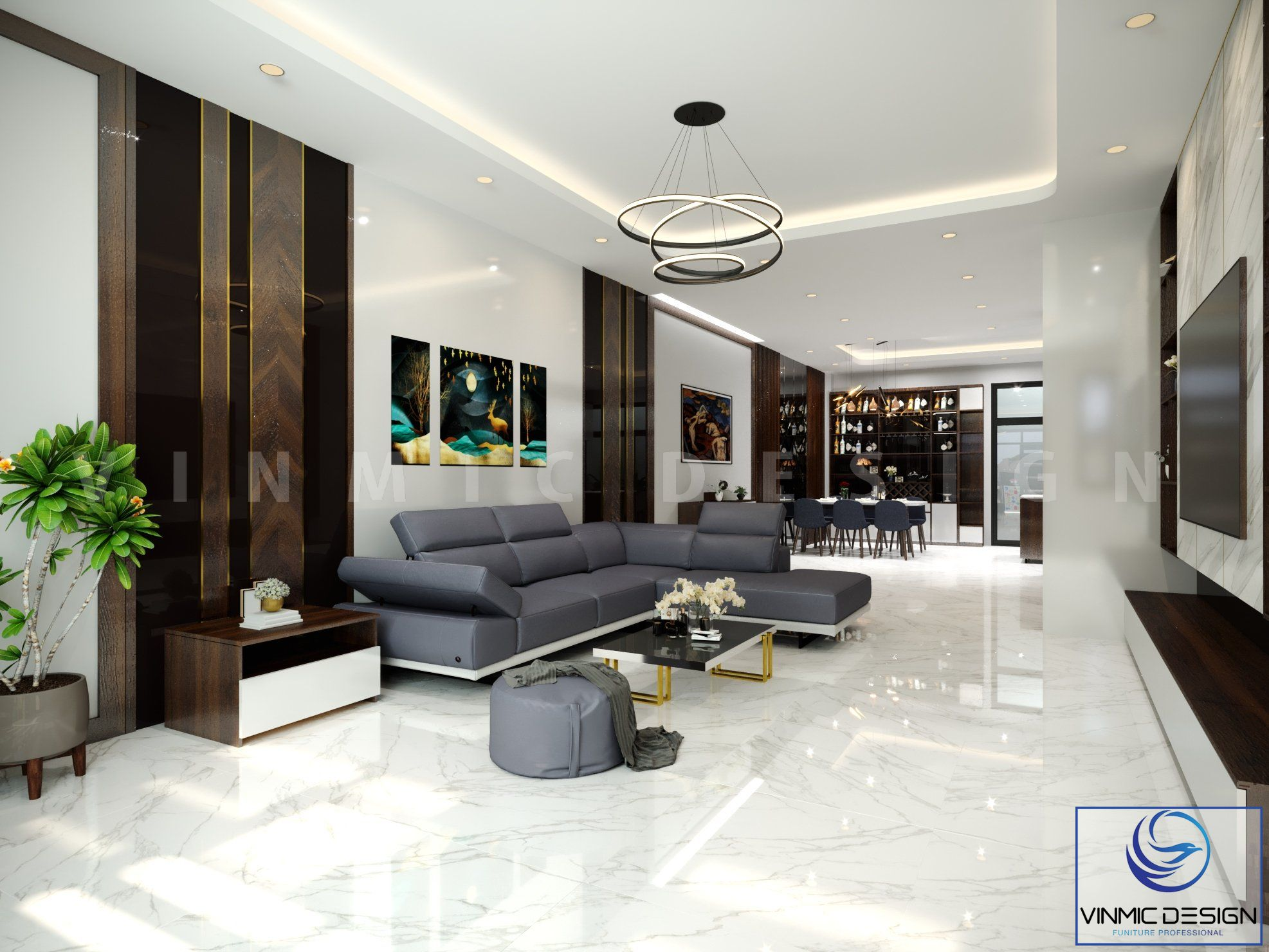 Phòng khách được nổi bật với bộ sô pha nhập khẩu