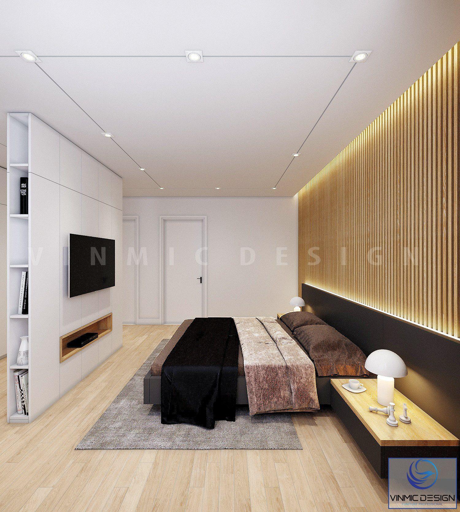 Thiết kế hệ tủ đứng ở gần giữa phòng ngủ tạo nên sự tiện lợi