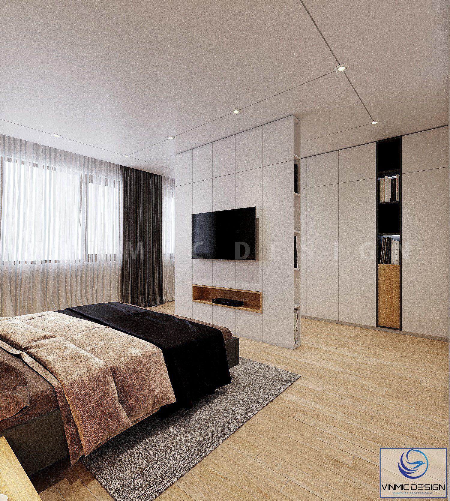 Phòng ngủ có một điểm nhấn hơn khi thiết kế hệ tủ đứng
