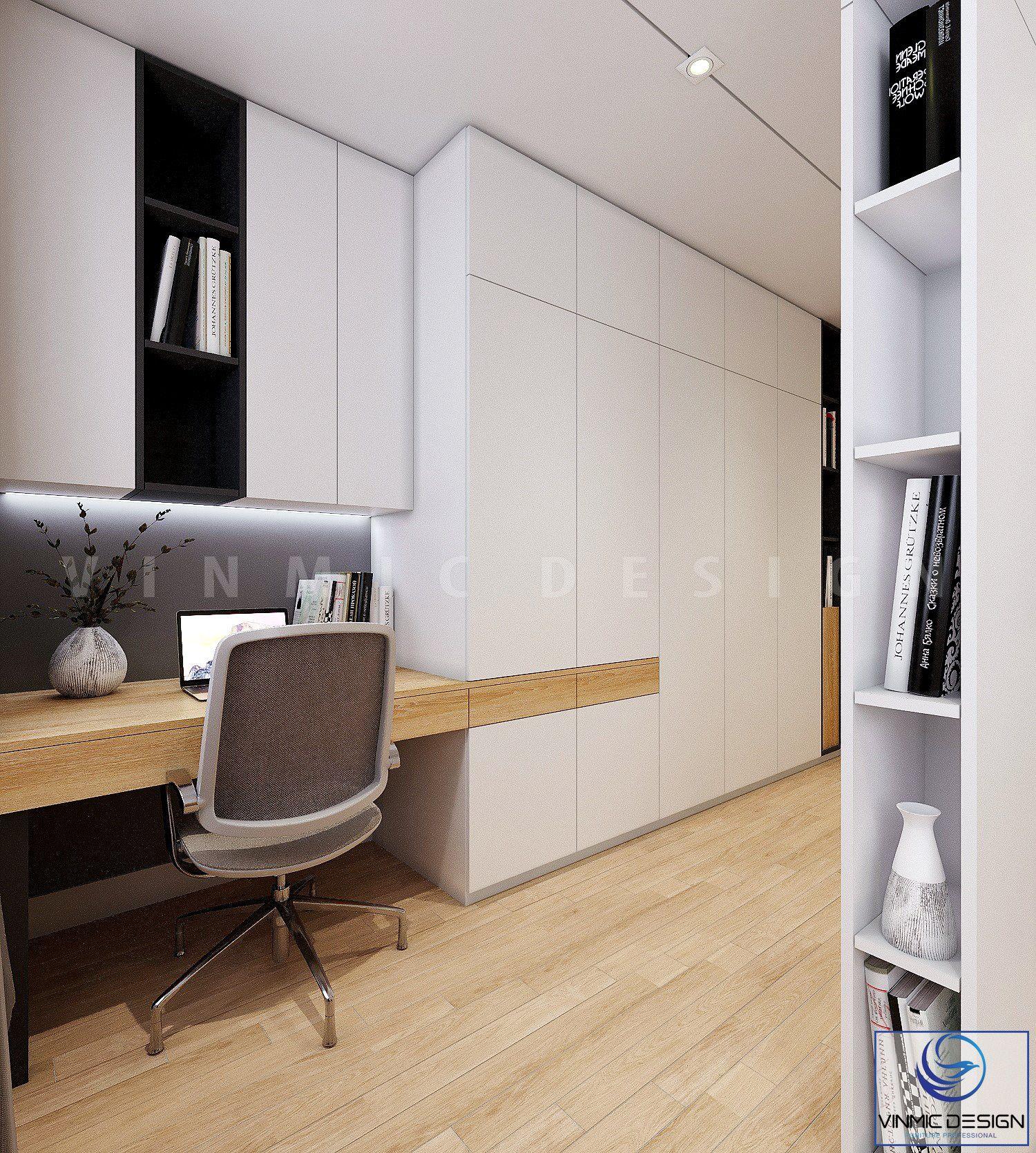 Không gian nơi làm việc trong phòng ngủ cũng được thể hiện riêng tư, tránh ồn ào