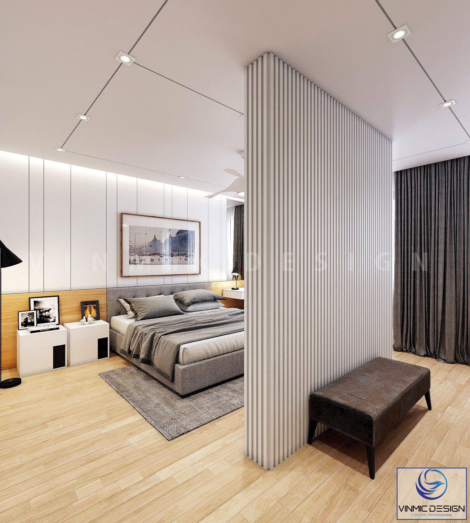 Thiết kế phòng ngủ với vách đứng được thể hiện cách điệu