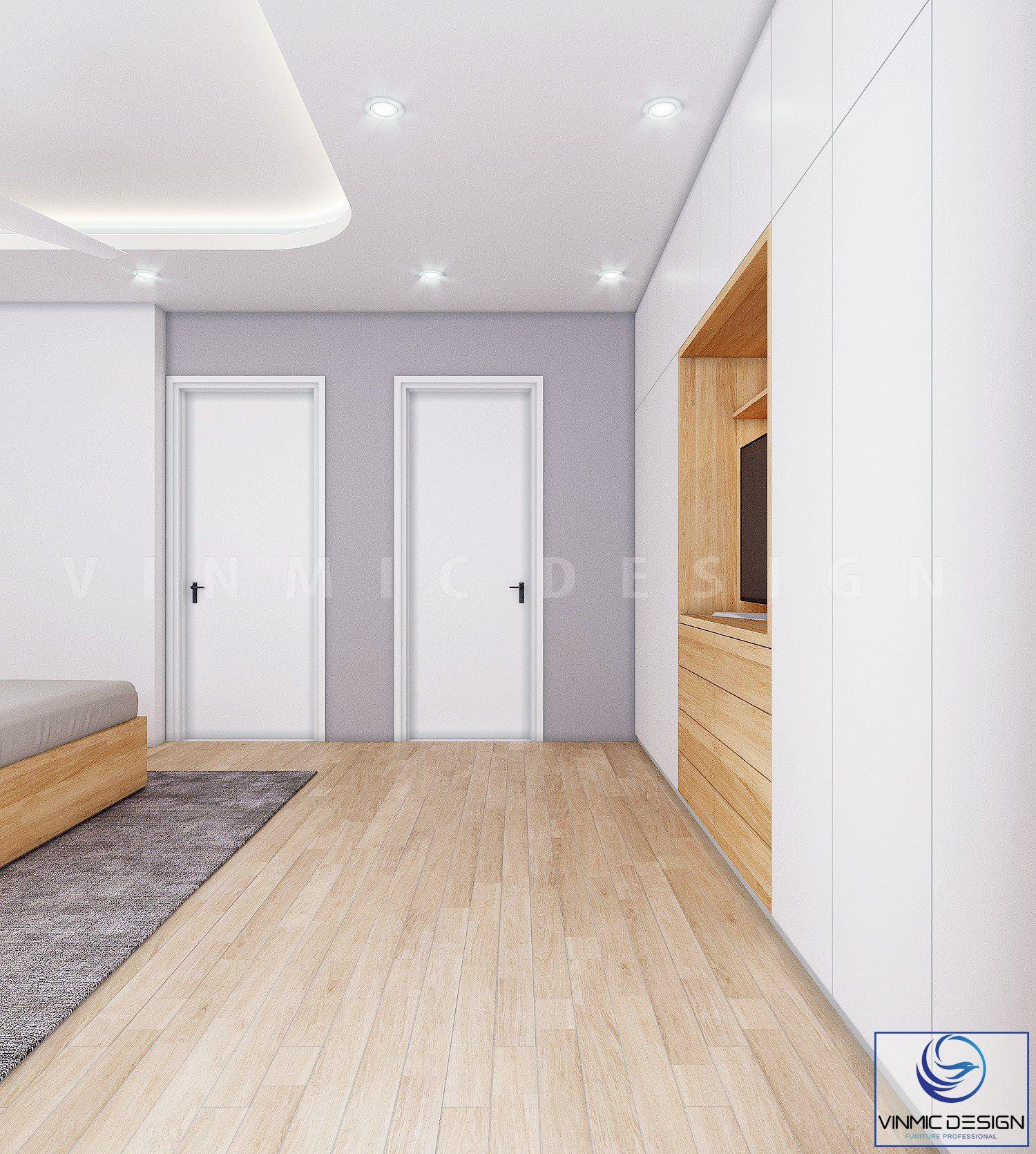 Thiết kế tủ áo và kệ ti vi theo một mặt phẳng để tiết kiệm diện tích