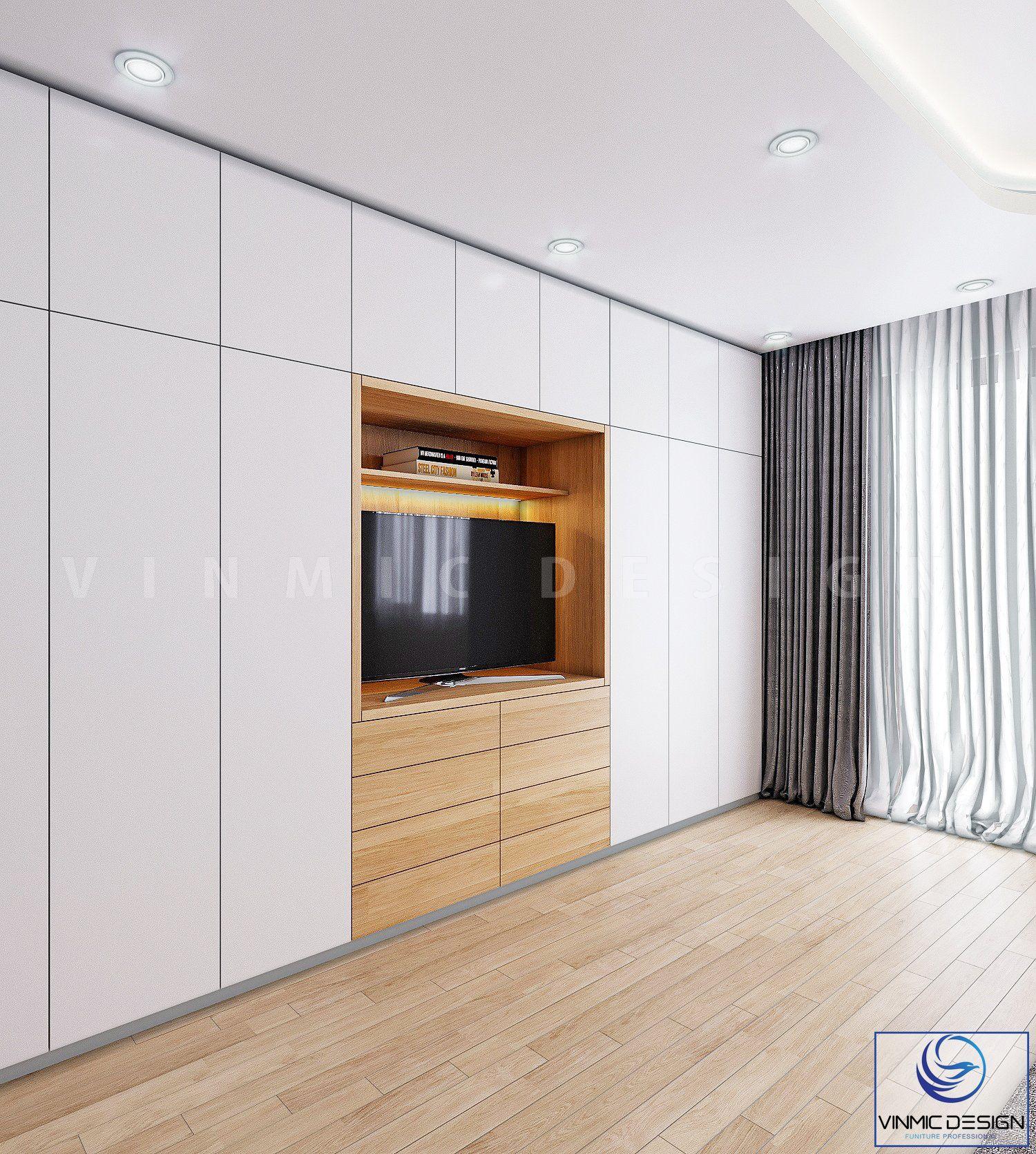 Tủ áo và kệ ti vi được làm từ gỗ công nghiệp chất lượng
