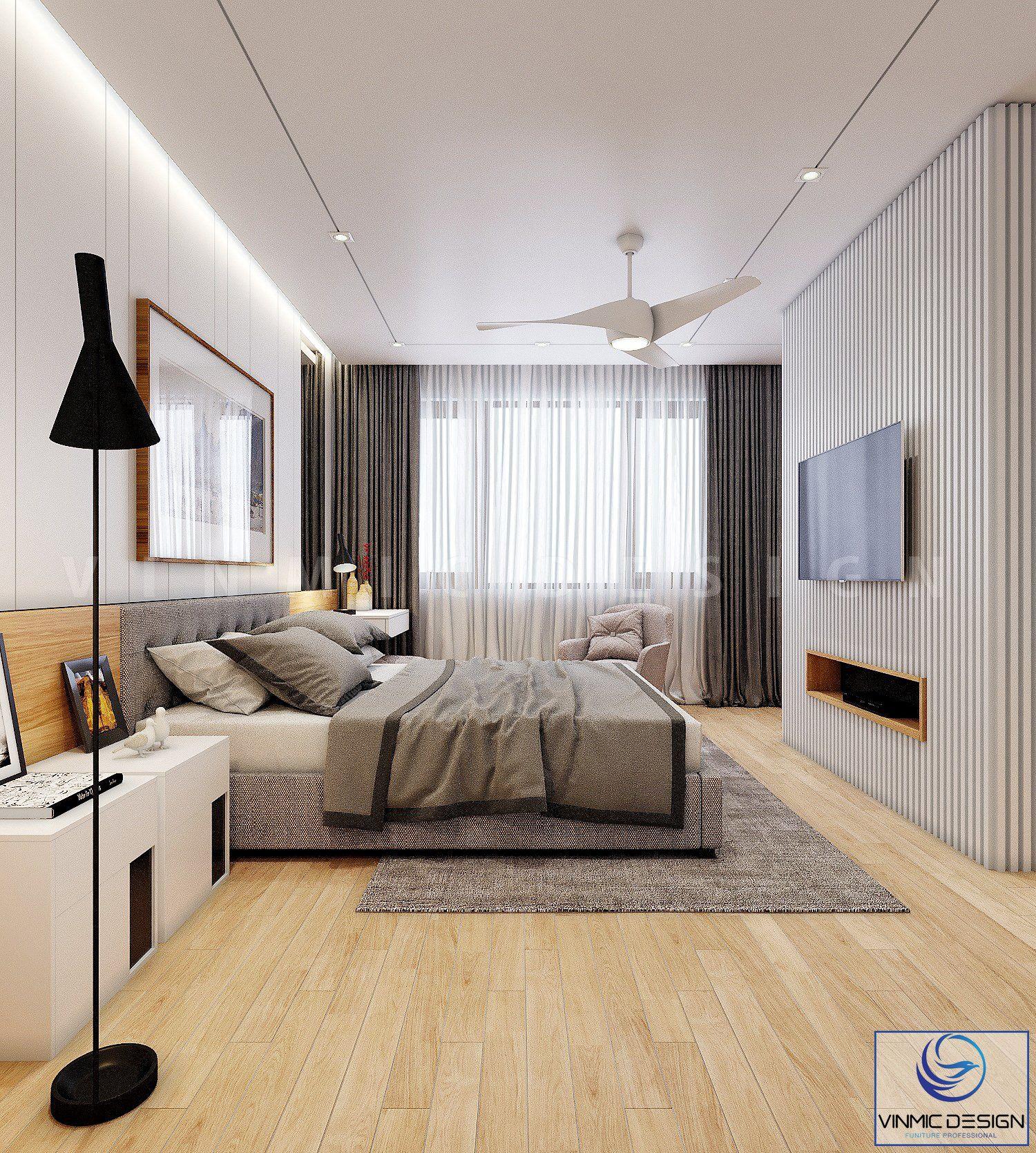 Phòng ngủ này cũng được sử dụng vách đứng để tầm nhìn xem ti vi được gần hơn