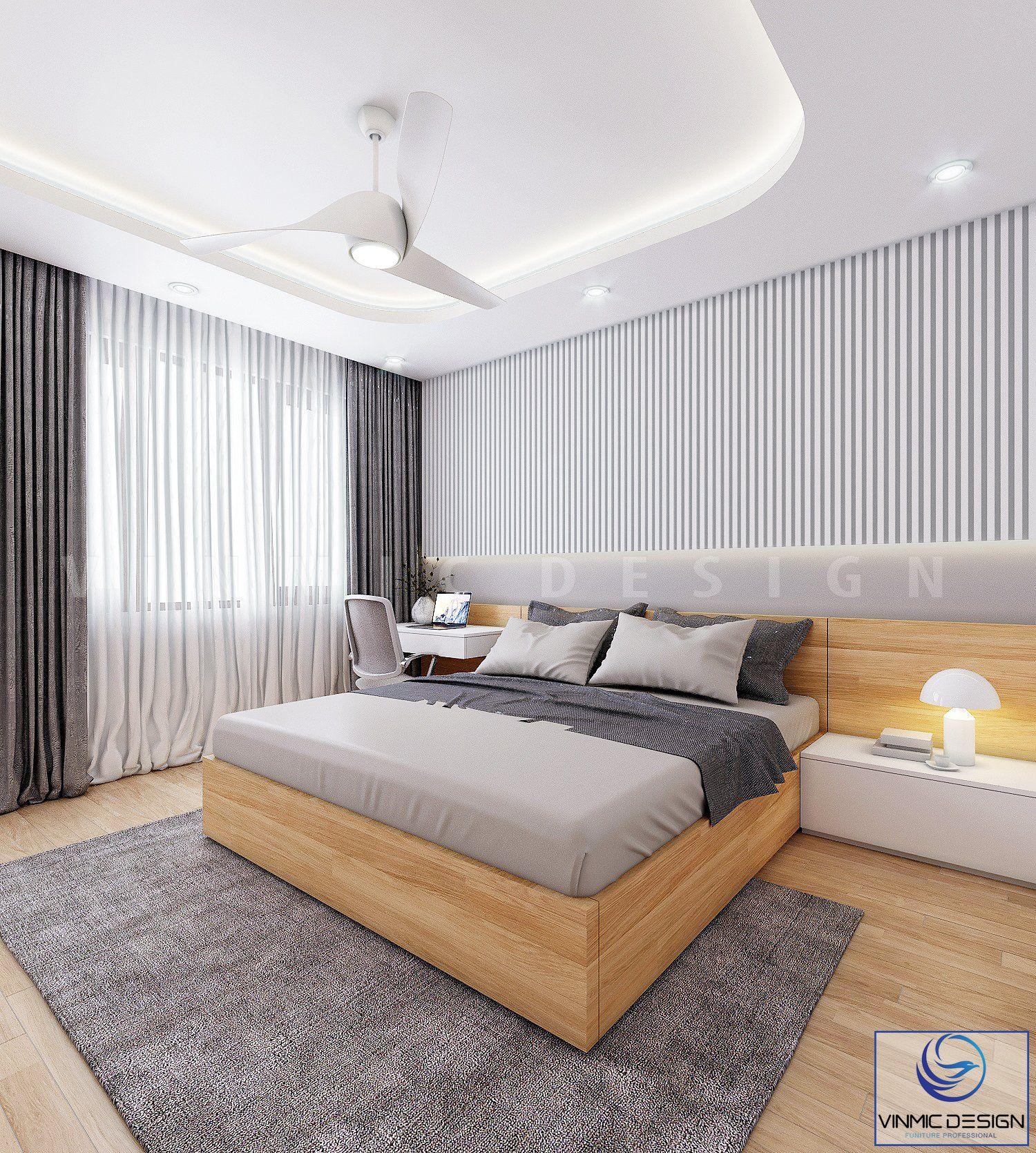 Tông màu sáng làm nổi bật lên không gian phòng ngủ này