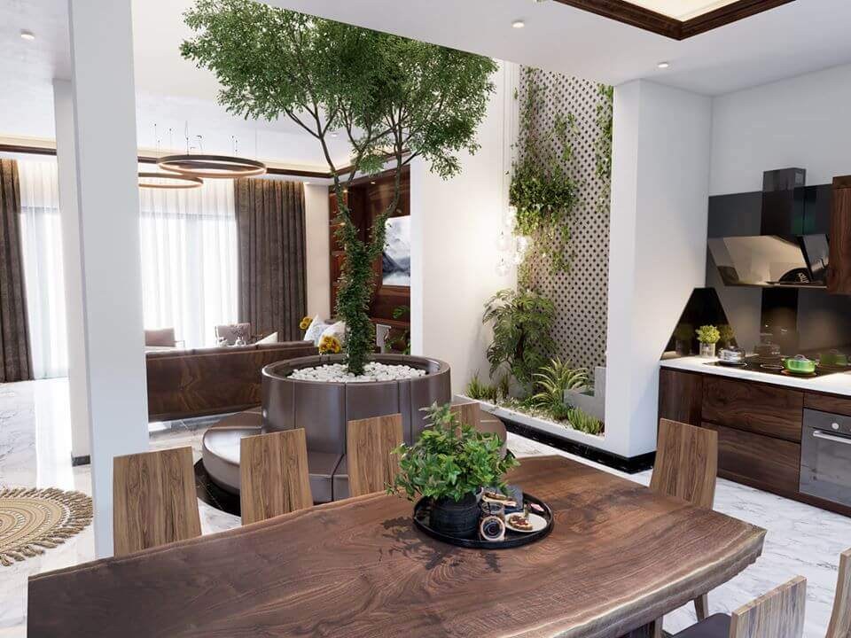 Phòng bếp được thiết kế bàn ăn tiện lợi