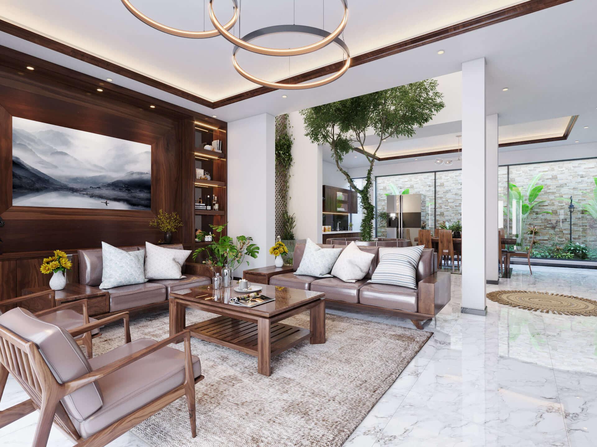 Phòng khách ấn tượng, gần gủi với thiên nhiên với các cây xanh trong nhà