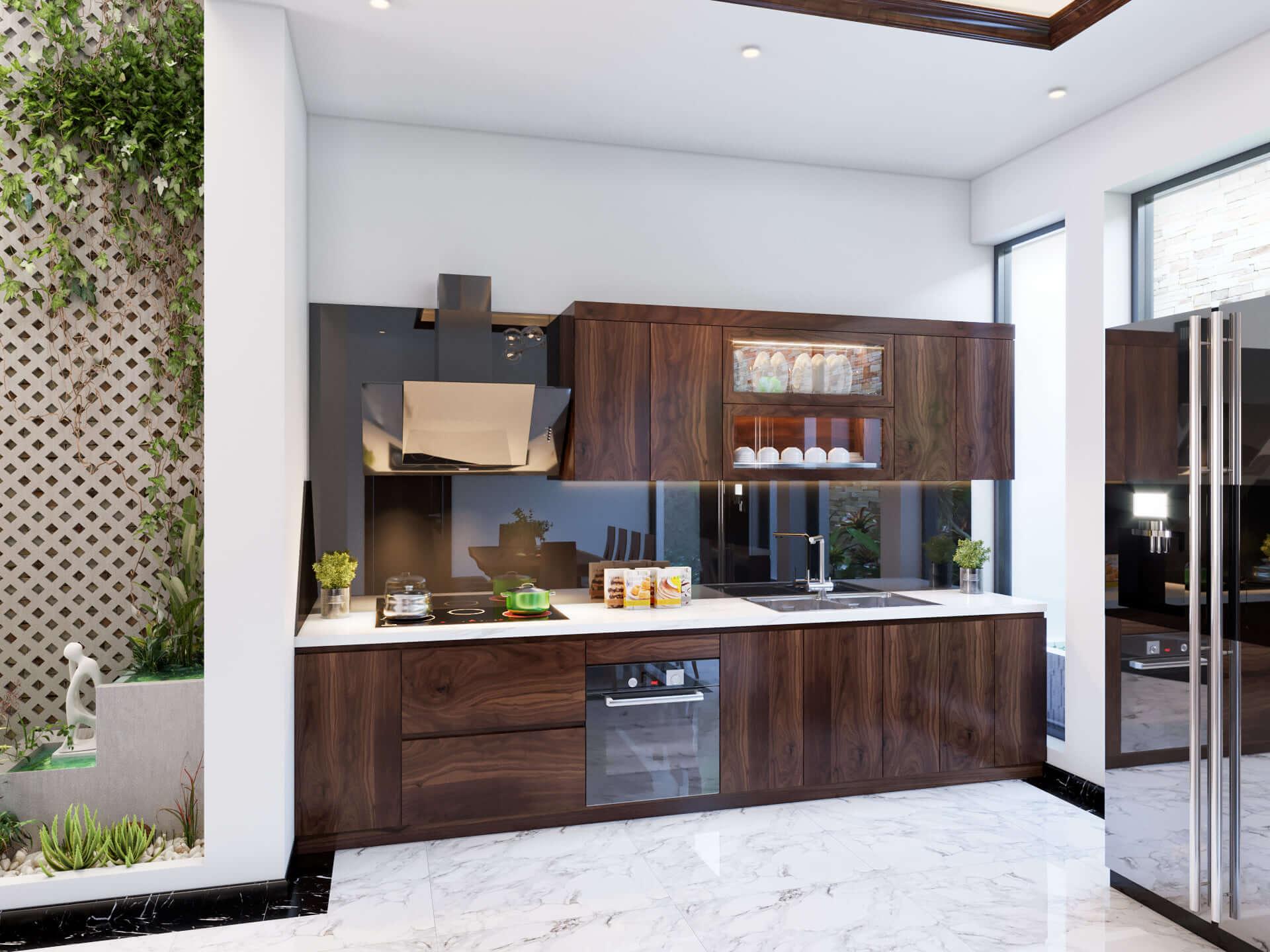 Thiết kế tủ bếp với chất liệu gỗ óc chó đẹp mắt