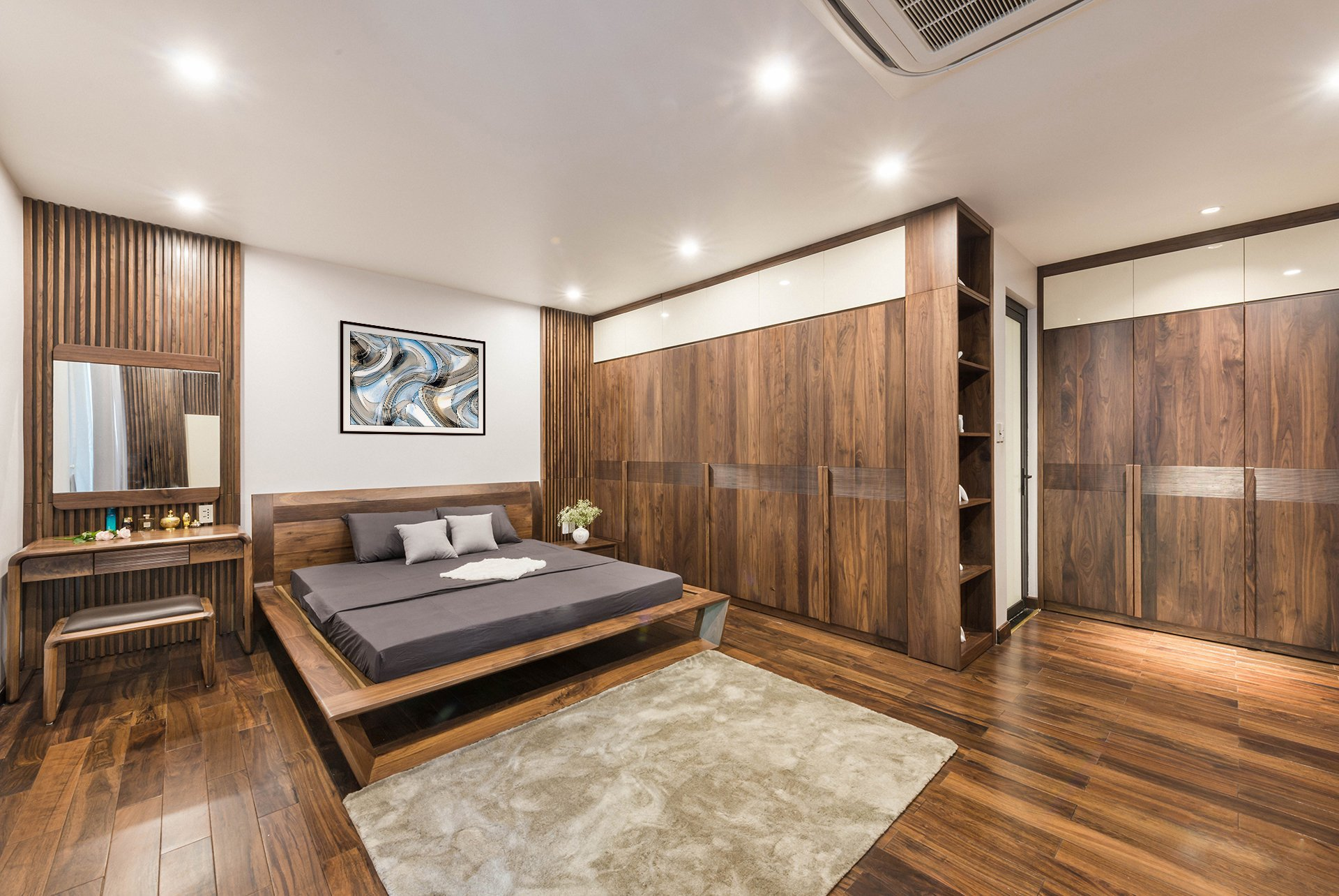 Toàn bộ phòng ngủ sử dụng gỗ tự nhiên óc chó và cách bố trí đẹp, đẳng cấp